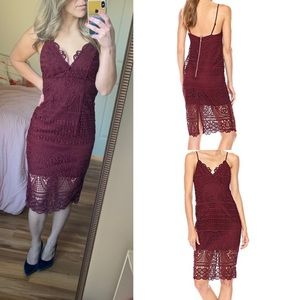 NWT Bardot Versailles dress burgundy xs crochet